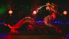 Chinese Dragon fountain in Night - Butchart Gardens Stock Footage