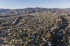 Aerial of Pacific Palisades Neighborhood in Los Angeles California Stock Photos