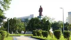 Statue of Lin Sen in Jieshou Park Taipei Stock Footage
