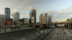 Freeway, Time Lapse, Traffic, I5, Seattle, Construction Cranes Stock Footage