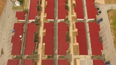 Many small prefabricated. geometric architecture. Aerial vertical videos. Stock Footage