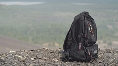 Man Traveling with Backpack Stock Footage