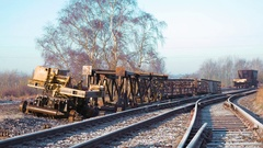 Railway tracks in morning winter sunlight and frost Stock Footage