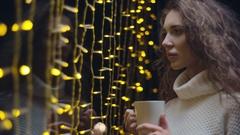 Contemplative Girl Drinking Tea Stock Footage