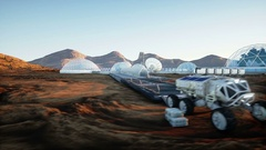 Mars base, colony. Expedition on alien planet. Aerial view. Geo capsyles.  Stock Footage