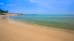 4k Time-lapse of Sai Thong Beach with sky, sea at Rayong, Thailand Stock Footage