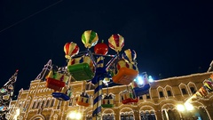 Children's entertainment at the new year holiday. The city is decorated with Stock Footage