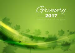 Color of the year 2017 Greenery waves background Stock Illustration