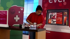 Free gift wrap with purchase at Microsoft store in Burnaby BC Canada Stock Footage