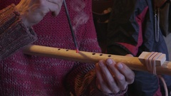 Building a Wooden Flute - Finishing the Holes Stock Footage