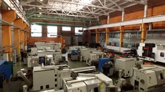 Manufacturing machines in a factory, footage from drone Stock Footage