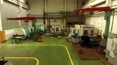 Aerial footage of a factory with high tech manufacturing machines Stock Footage