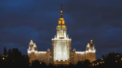 Timelapse of Moscow state University building illuminated at night, Moscow Stock Footage