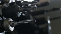 Smooth footage of the drill bits manufacturing machine Stock Footage