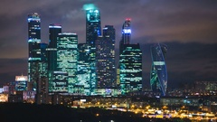 Skyscrapers International Business Center City at night timelapse , Moscow Stock Footage