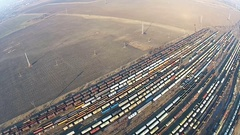 Aerial perspective of stationed trains Stock Footage