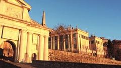 Bergamo - Old city. The old gate named Porta San Giacomo Stock Footage