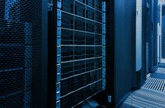 Array disk storage in data center with depth of field in cool tone Stock Photos