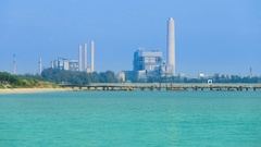 4k Time-lapse of electrical power plant near the sea coat, Rayong, Thailand Stock Footage