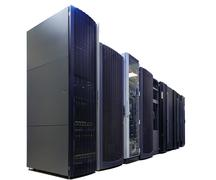 Rows of server hardware in data center isolate Stock Photos