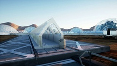 Mars architecture. Mars base, colony. Life on Mars. Stock Footage