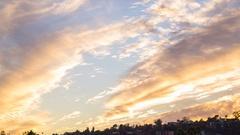 Timelapse of Sunset Afterglow Illuminating Autumn Sky Stock Footage