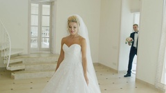 Emotional first meeting of the groom and the bride on the wedding day Stock Footage