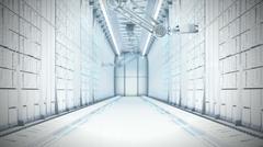 Futuristic Server Room 3d illustration Stock Illustration