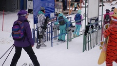 Many people on the elevator, standing in line at the ski resort, 4k. Russia Stock Footage