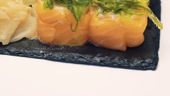 Sushi dish on white background Stock Footage