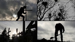 Death concept in silhouettes - cemetery different points of view Stock Footage