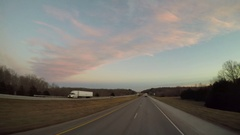 "Wide Angle POV Driving Shot -  ""PAM"" Semi-Truck Passes in Rural Kentucky, USA Stock Footage"