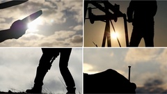 Different ordinary common jobs - collage in silhouettes Stock Footage