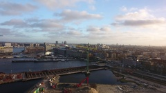 Amsterdam skyline from river IJ, aerial. Stock Footage