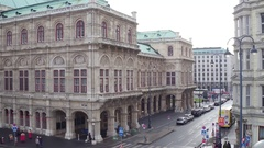 VIENNA, AUSTRIA - DECEMBER, 24 Pan shot of Wiener Staatsoper, State Opera Stock Footage