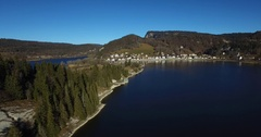 4K Drone Aerial - Swiss Lake Forest and Village Stock Footage