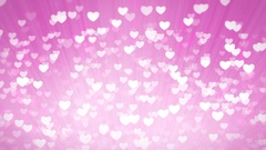Pink Shiny Hearts Light Valentines Day Background. Stock Footage