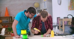 Engineers Drawing with 3d Printing Pen Stock Footage