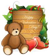 Valentine teddy bear with  hearts and foliage Stock Illustration