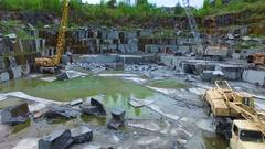 Opencast mining granite. Aerial survey Stock Footage