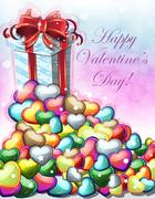 Valentines day gift with red bow Stock Illustration