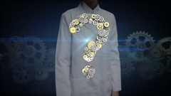 Female researcher, Engineer open palm, Steel golden gears making question mark. Stock Footage