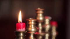 Candle in a candlestick, blown out Stock Footage
