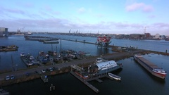 Amsterdam harbor and REM island. Aerial footage. Stock Footage