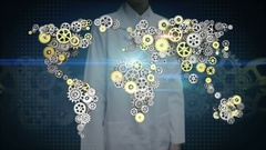 Female researcher, Engineer open palm, Steel golden gears making world map. 1. Stock Footage