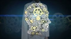 Female engineer touching screen, Gears making head. artificial intelligence, Stock Footage