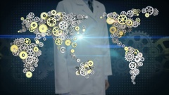 Researcher, Engineer open palm, Steel golden gears making world map. 2. Stock Footage