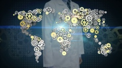 Researcher, Engineer open palm, Steel golden gears making world map. 1. Stock Footage