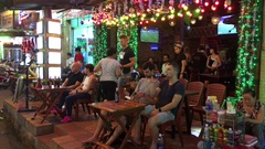Nightlife with bars and pubs in Saigon city Stock Footage