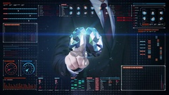 Businessman touching Brain in digital display, Line net tunnel with graph, Stock Footage